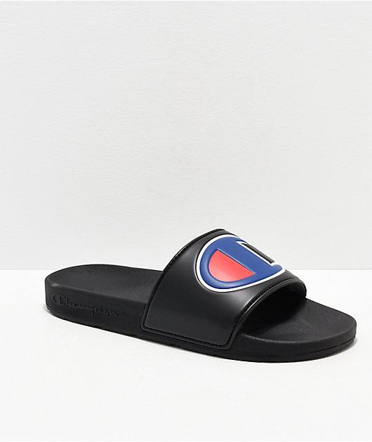 Champion IPO Black & Blue Slide Sandals