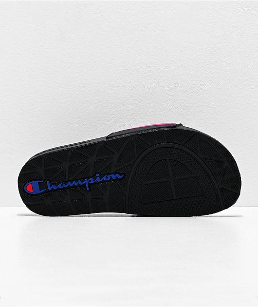 Champion IPO Black & Neon Pink Slide Sandals