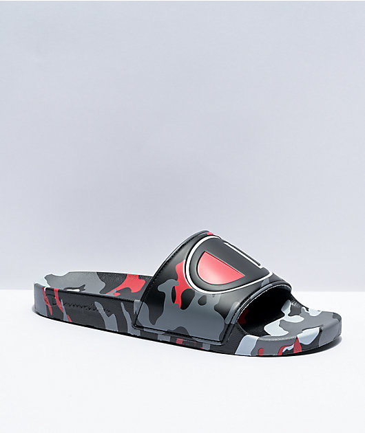 Champion IPO Camo Black, Grey, & Scarlet Slide Sandals