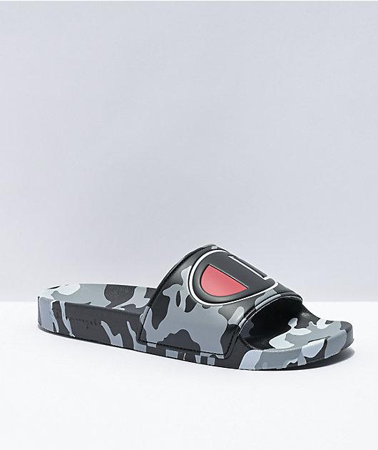 Champion IPO Camo Black & Grey Slide Sandals