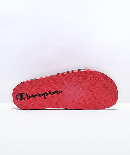 Champion IPO Camo Scarlet, Silver, & Black Slide Sandals