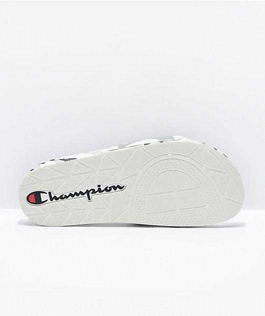 Champion IPO Camo White, Grey & Black Slide Sandals