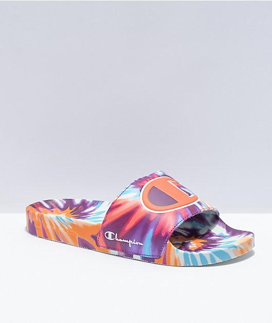 Champion IPO Magenta, Orange & Blue Tie Dye Slide Sandals