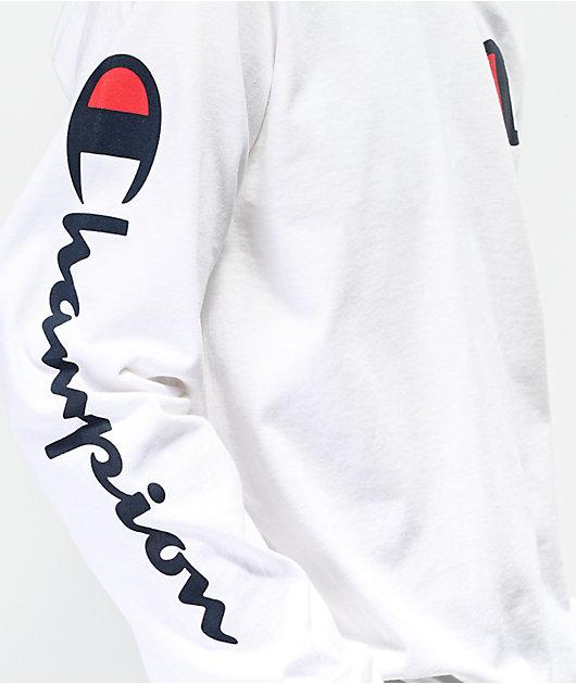 Champion Large C White Long Sleeve T-Shirt