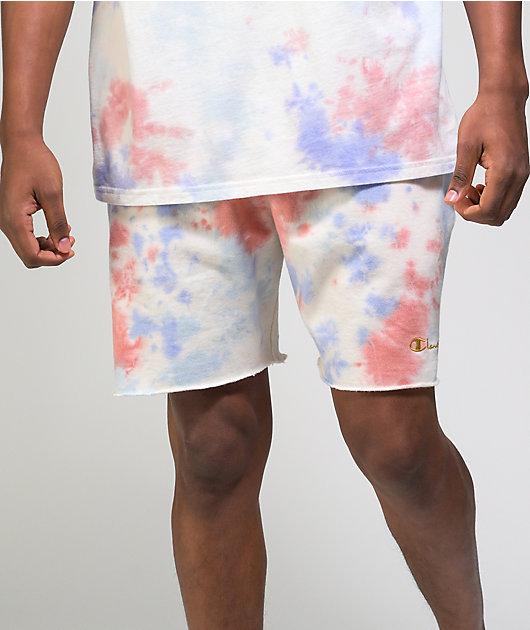 Champion Lightweight Charm Blue & Orange Tie Dye Sweat Shorts