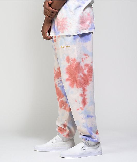 Champion Lightweight Charming Blue, Orange, & Purple Tie Dye Sweatpants