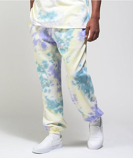 Champion Lightweight Lemon Glacier, Blue, & Purple Tie Dye Sweat Pants