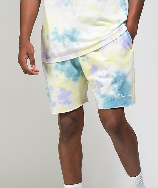 Champion Lightweight Lemon Glacier Blue, & Purple Tie Dye Sweat Shorts