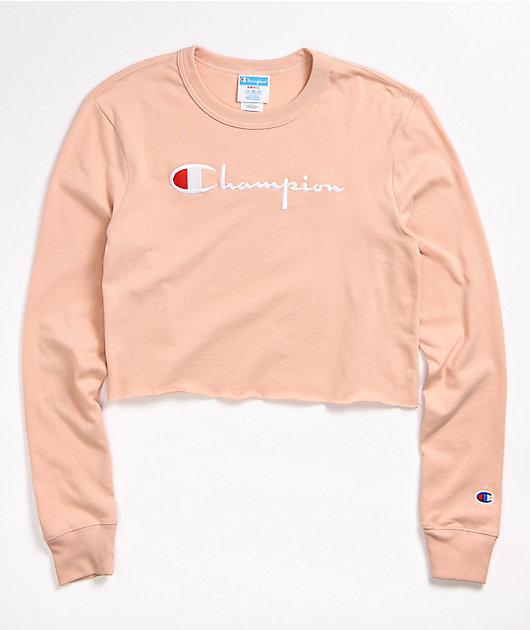 Champion Logo Script Blush Peach Long Sleeve Crop T-Shirt
