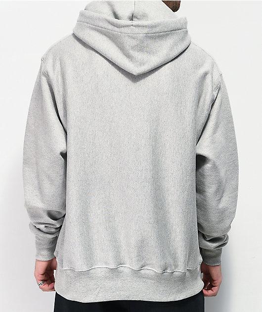 Champion Logo Script sudadera con capucha gris de tejido inverso