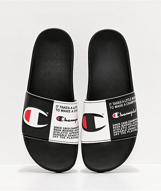 Champion Men's IPO Jock Tag Black Slide Sandals
