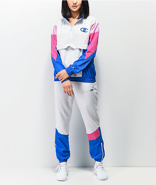 Champion Mixed Media Grey, Blue & Pink Quarter Zip Windbreaker Jacket