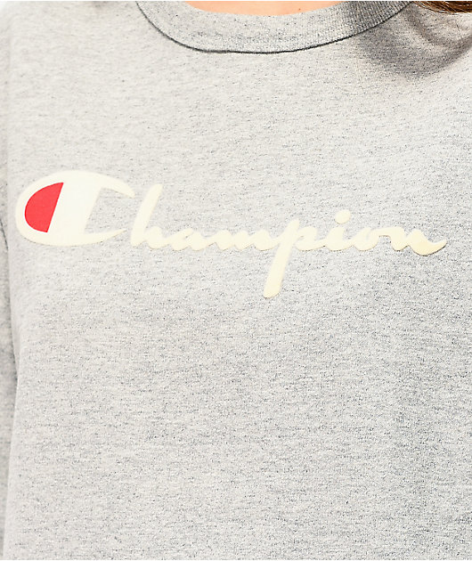 Champion Original Flock Grey Long Sleeve T-Shirt