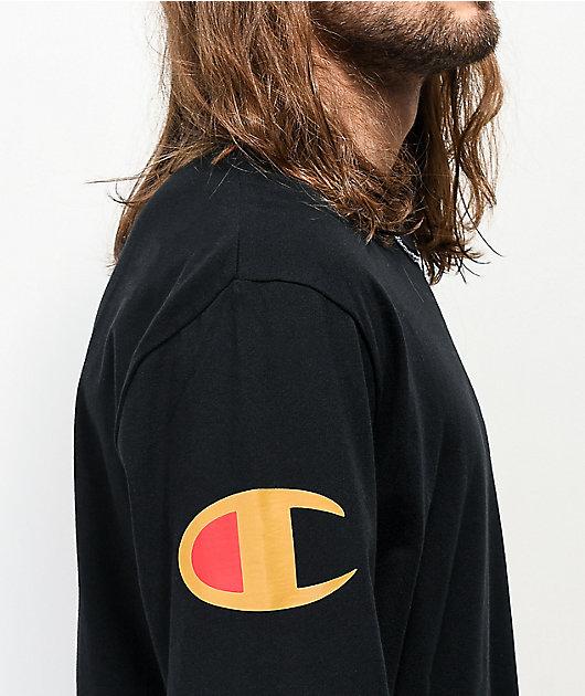 Champion Over Shoulder Logo Black & Gold Long Sleeve T-Shirt