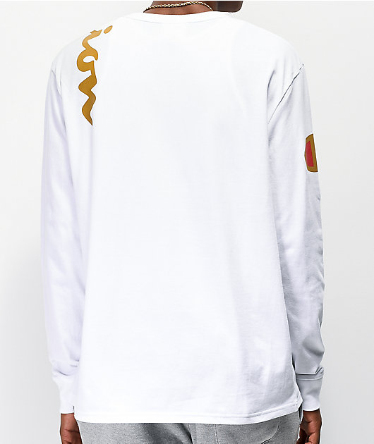 Champion Over Shoulder Logo White & Gold Long Sleeve T-Shirt