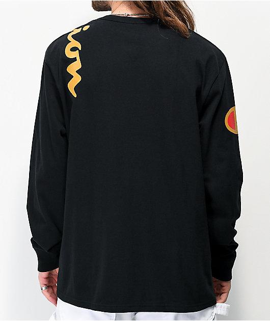 Champion Over Shoulder Logo camiseta de manga larga negra y dorada