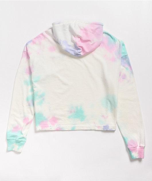 Rainbow cloud crop hoodie m