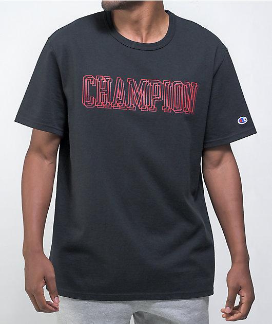 Champion Puff Print Graphic Black T-Shirt