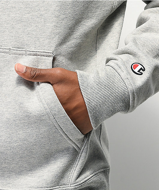 Champion Quilted Logo sudadera con capucha gris