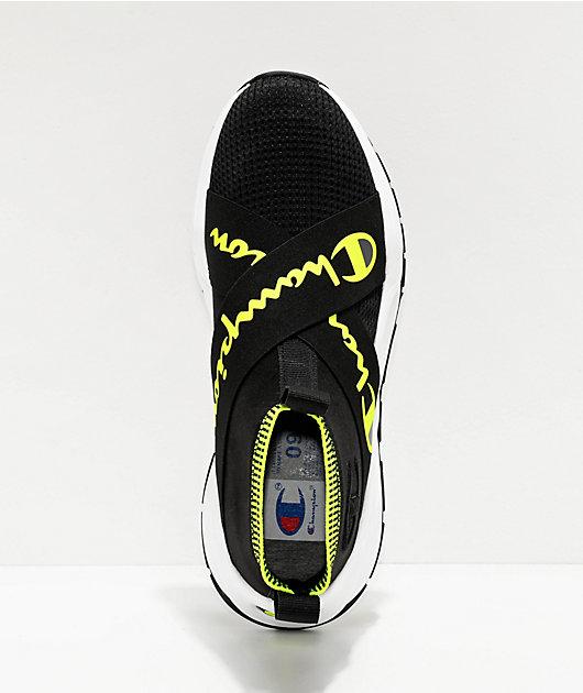 Champion Rally Crossover zapatos en negro y verde neón