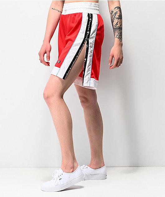 Champion Red & White Mesh Basketball Shorts