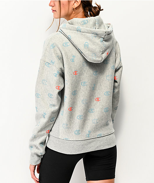 Champion Reverse Weave All Over Print Grey Hoodie