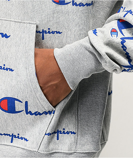 Champion Reverse Weave All Over Print Oxford Grey Hoodie