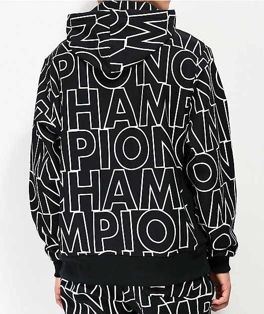 Champion Reverse Weave Allover Block Text Black Hoodie