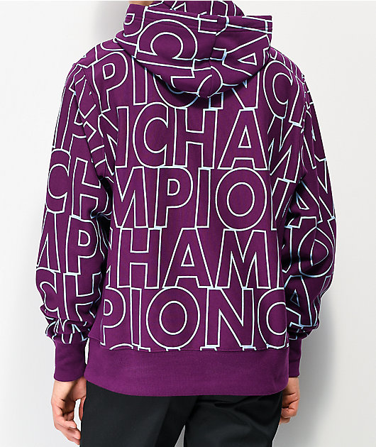 Champion Reverse Weave Allover Block Text Purple Hoodie