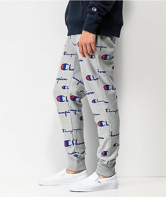 Champion Reverse Weave Allover Script Oxford Grey Jogger Sweatpants