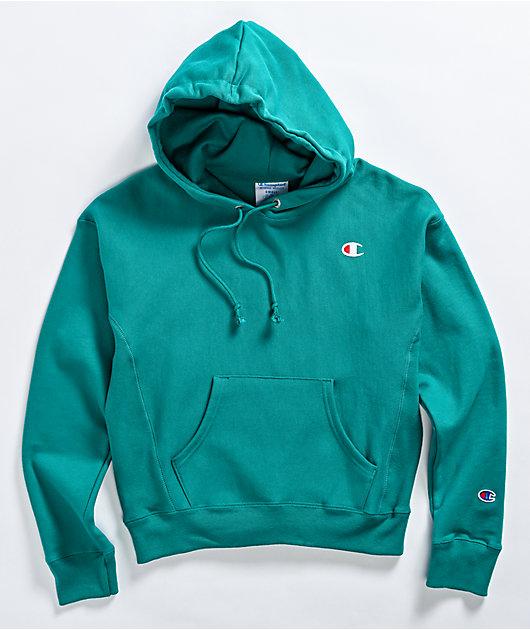 Champion Reverse Weave Aqua Green Hoodie