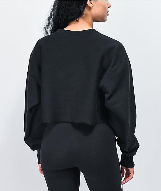 Champion Reverse Weave Black Crop Crew Neck Sweatshirt