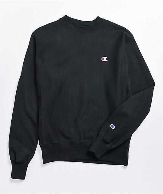 Champion Reverse Weave Boyfriend Fit Black Crewneck Sweatshirt