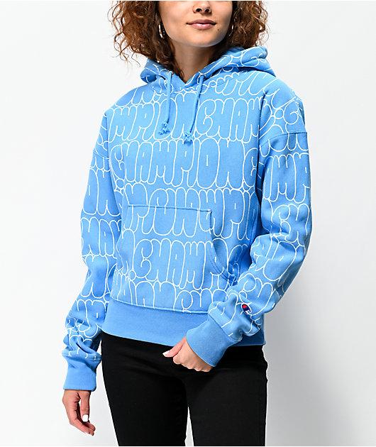 Champion Reverse Weave Bubble Script Blue Hoodie