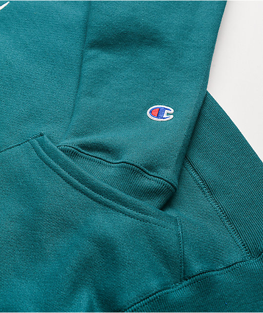 Champion Reverse Weave Embroidered C Jade Green Hoodie