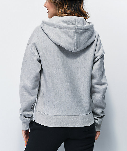 Champion Reverse Weave Floss Stitch C Grey & White Hoodie