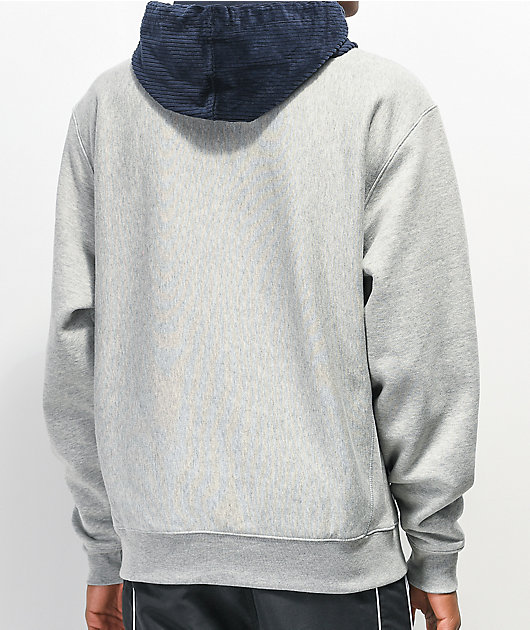 Champion Reverse Weave Grey & Navy Corduroy Hoodie