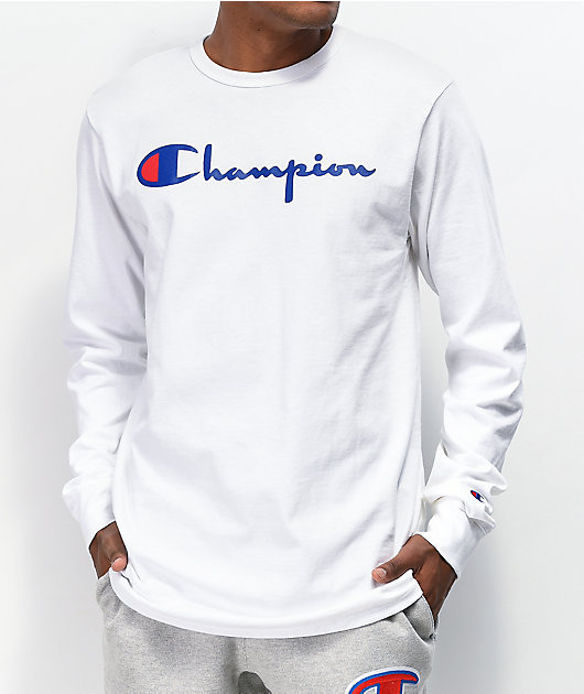Champion Reverse Weave Heritage Script White Long Sleeve T-Shirt