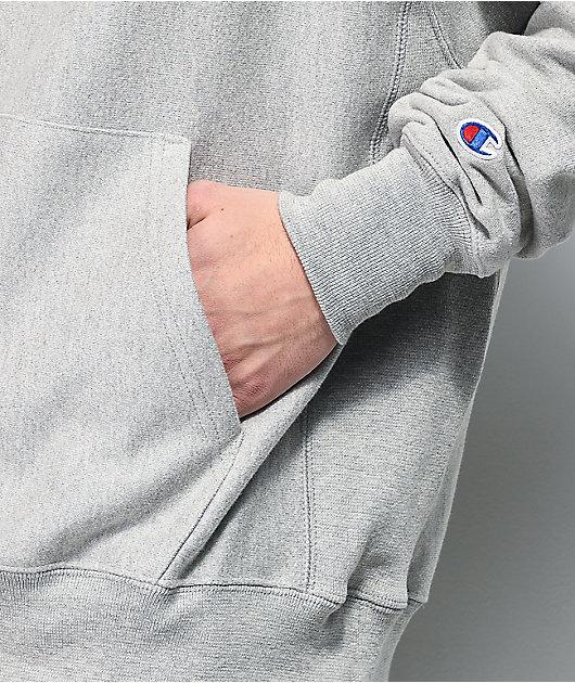 Champion Reverse Weave Logo Script Grey Hoodie