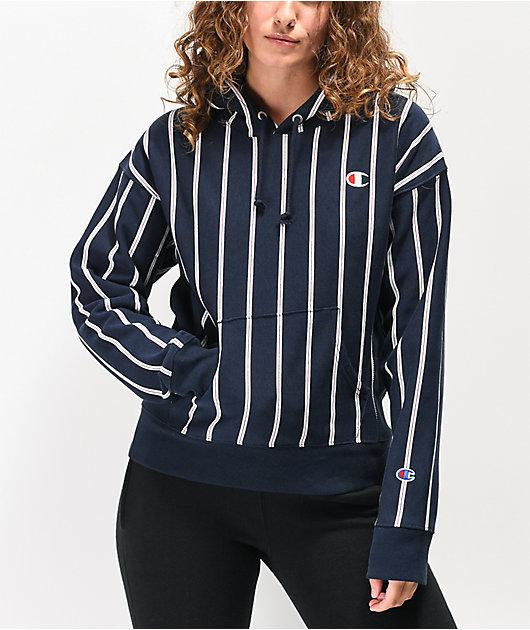 Champion Reverse Weave Navy Stripe Hoodie