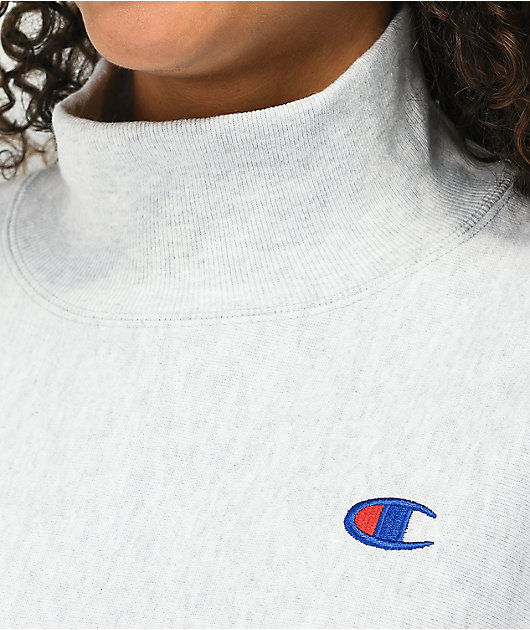 Champion Reverse Weave Silver Grey Crop Mock Neck Sweatshirt