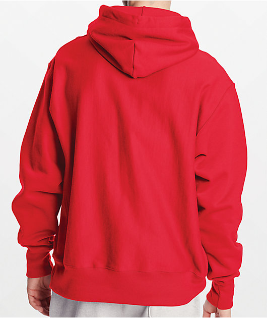 Champion Reverse Weave Small C Red Hoodie