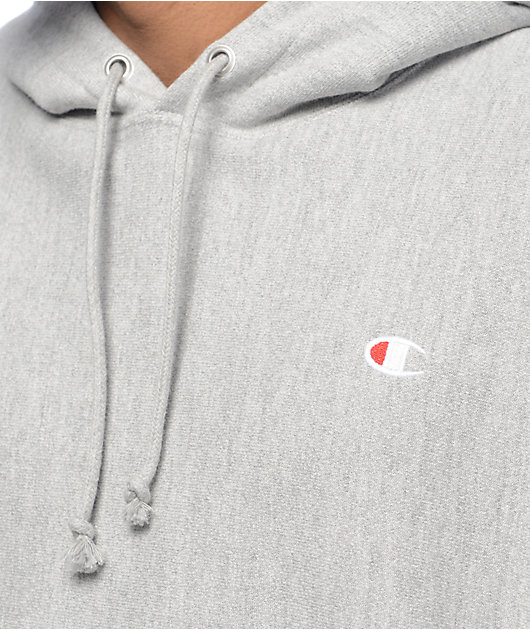 Champion Reverse Weave Small Logo Oxford Grey Hoodie