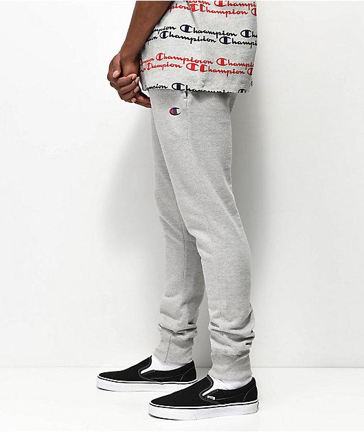 Champion Reverse Weave Small Logo Oxford Grey Jogger Sweatpants