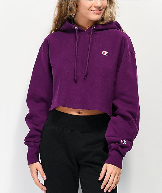 Champion Reverse Weave Venetian Purple Crop Hoodie