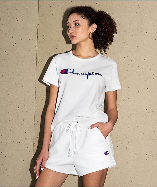 Champion Reverse Weave White Sweat Shorts