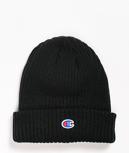 Champion Ribbed C Patch Black Beanie