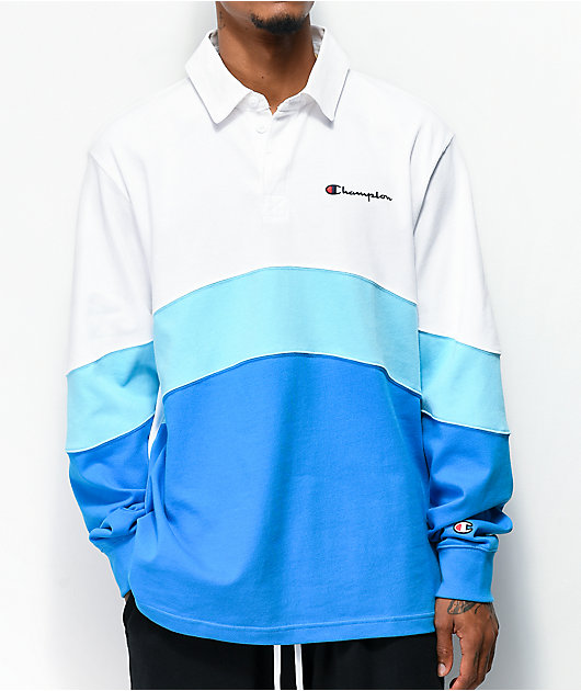 Champion Rugby Blue & White Long Sleeve Polo Shirt