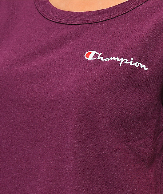 Champion Script Burgundy Crop T-Shirt