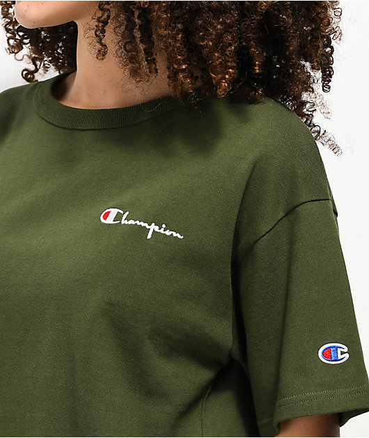 Champion Script Green Crop T-Shirt